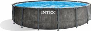 Intex rond Greywood Prism Frame Pool 457x122 cm met filterpomp en accessoires 26742GN