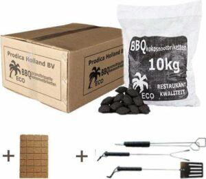 Kokosbriketten 10kg met gratis aanmaakblokjes en gratis BBQ gereedschapset - kokosbriketten