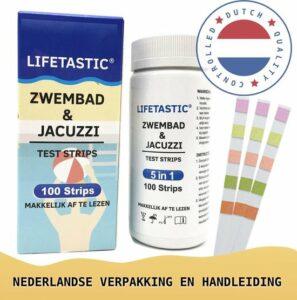 LIFETASTIC® 100 stuks - 5 in 1 Teststrips zwembad - Waterkwaliteit Controle - Spa - Jacuzzi - Chloor - pH - Veilig Zwemmen - Onderhoud - Water - NL Verpakking en Handleiding