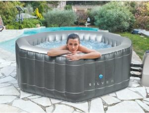 NetSpa Silver - Opblaasbare jacuzzi - 5 persoons bubbelbad - Hot tub met filter - Bubbeljet massage bad - vijf persoons jacuzzi - Achthoekig bubbelbad