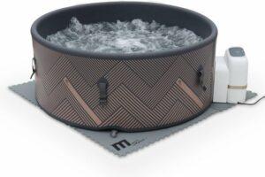 Ronde opblaasbare spa MSPA – Mono 6 grijs– nieuw model - Spa voor 6 personen Ø 173cm, Rigide versterkt PVC, pomp, hoes, vloermat