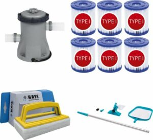 WAYS - Zwembad Onderhoud - Intex Onderhoudsset & Bestway Filterpomp 1249 Lh - 6 Bestway Filters Type - WAYS Handy Scrubborstel