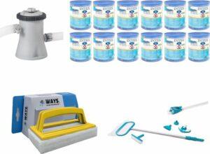 WAYS - Zwembad Onderhoud - Intex Onderhoudsset Deluxe & Intex Filterpomp 28602GS & 12 Intex Filters Type H & WAYS Handy Scrubborstel