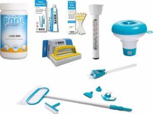 Zwembad starterspakket Large - Chloortabletten, Chloordrijver, Teststrips, Reparatiekit, Onderhoudsset Deluxe, Scrubborstel, Thermometer