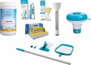 Zwembad starterspakket Medium - inclusief chloortabletten, chloordrijver, testcontrolestrips, thermometer, scrubborstel, reparatiekit en onderhoudsset