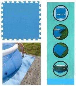 Zwembad tegels - Set van 8 stuks - Bodem bescherming - Ondertegels - Ondervloer - Ondergrond - Foam tegels - Matten - Puzzelmat voor zwembad - zwembadtegels