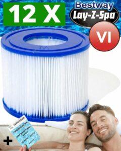 12 x LayZSpa Filter Type VI Onderhoud Filtercartridge - Filterpatroon VI - Reservefilterelement voor Lay-Z-Spa - Spa Filter Jacuzzi + Serviceboek