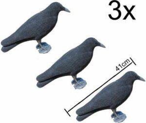3x kraai vogelverschrikker -duivenverjager - 3x XL Kraai geflockt