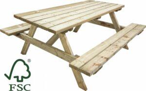 Atlantis Outdoor Houten picknicktafel - 180cm - 6 personen - opklapbare bank - houten picknicktafel