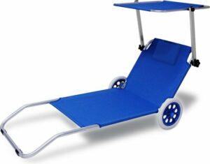 Deuba Ligbed Verrijdbaar Kreta Blauw Aluminium met 2 Wielen