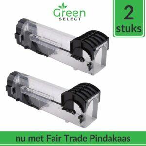 Green Select Diervriendelijke Muizenval 2 stuks - Veilig, Hygiënisch en Effectief - Inclusief Fairtrade Pindakaas