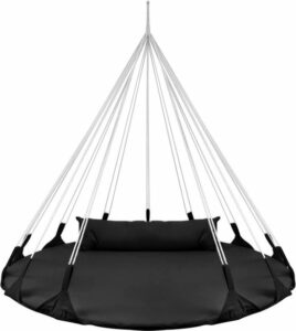 Hangnest voor Binnen & Buiten. Met groot en dik kussen voor volwassenen & kinderen. Belastbaar tot 125 kg. VITA5 (Zwart)