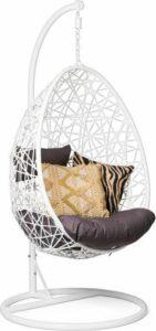 Hangstoel Wit - inclusief kussens - ei-egg chair - Lounge stoel - Rotan - Bohemian Woondecoratie