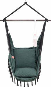 Hangstoel voor Binnen & Buiten. Met 2 Kussens, Drankhouder & Boekenvak - XXL Hangstoel (ook voor kinderen). Belastbaar tot 150kg (Donkergroen)
