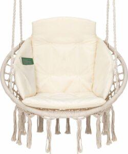 Hangstoel voor Binnen & Buiten. Met Kussen, Boekenvak & Beschermhoes. Macrame Korfhangstoel voor volwassenen & kinderen. Belastbaar tot 150 kg. VITA5 (Beige)