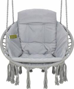 Hangstoel voor Binnen & Buiten. Met Kussen, Boekenvak & Beschermhoes. Macrame Korfhangstoel voor volwassenen & kinderen. Belastbaar tot 150 kg. VITA5 (Grijs)