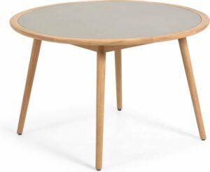 Kave Home - Nina tafel rond, massief eucalyptushout en polycement Ø 120 cm FSC 100%