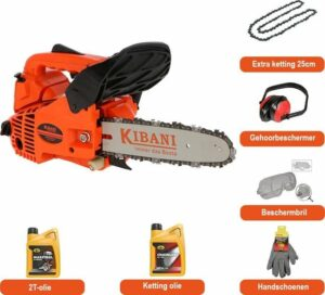 Kibani Kettingzaag Benzine - 25.4 cc - 1 pk 2-takt Motor - Extra Ketting, Gehoorbeschermer, Beschermbril, handschoen