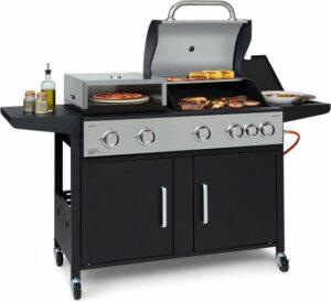 Klarstein Kingsville XL Combi gas barbecue 20,5kW - 5+1 brander - geïntegreerde roestvrijstalen pizzaoven met Ø 30 cm pizzasteen