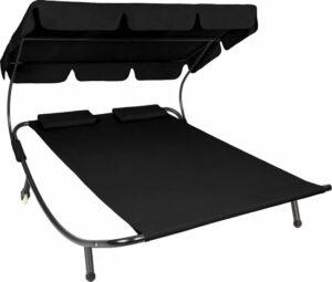Luxe dubbel ligbed met zonneluifel 2 personen zwart