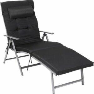 MIRA Home Ligstoel – Tuinstoel – Comfortabel – Roestvrij Aluminium – Zwart
