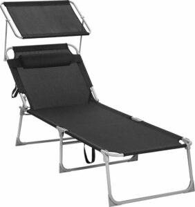 MIRA Home - Ligstoel met hoofdsteun - Tuinstoel - Zomer - Synthetisch vezelweefsel - Zwart