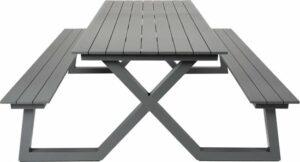 MaximaVida aluminium picknicktafel Dex 200 cm antraciet - lage instap