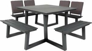 MaximaVida vierkante aluminium picknicktafel Dex 215 cm antraciet - 2 rugleuningen