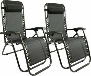 Maxx Ligstoel - Set van 2 - Textoline - Zwart