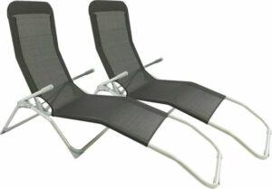 MaxxGarden Ligbed - opvouwbare ligstoel 2 stuks - textileen - zwart - inklapbaar