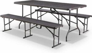 MaxxGarden Vouwtafel - inklapbare picknickset - met 2 zitbanken - zwart
