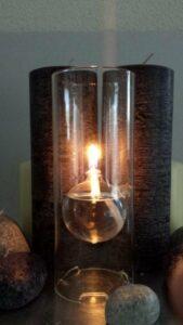 Olielampje - windlicht voor op tafel model de bol - olielamp modern