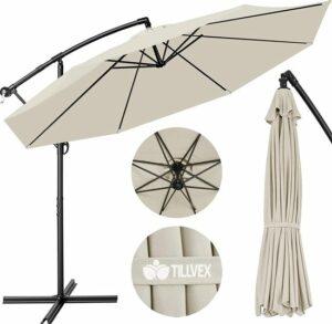 Parasol beige Ø 300 cm met zwengel - zonnescherm met standaard - tuinscherm UV-bescherming aluminium - zwengelscherm marktscherm waterdicht