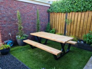 Picknicktafel van staal en hout - VX-Poot