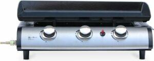 Plancha op gas 3 banders - Porthos - 7,5 kW, barbecue, buitenkeuken, geëmailleerde plaat, inox. Inclusief gasconnector G1-2