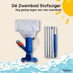 Riefco - Zwembadstofzuiger blauw - COMPLEET - Jet Vac - Inclusief Telescoopstang - Zwembadreiniging - Zwembadonderhoud - Bodemzuiger - Jacuzzi stofzuiger - Zwembad stofzuiger
