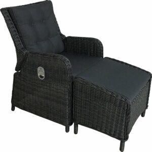 Riva relaxstoel met voetenbank Rock Grey wicker