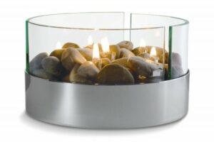 Sfeervolle Tafelhaard - Tafelhaard Burn - Aluminium - Glas - Rivierstenen - Lampolie - Binnen & Buiten