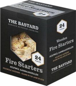 The Bastard Wooden Fire Starters - 24st 350gr - houtkrullen BBQ - houtwol aanmaakkrullen