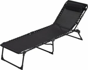 Tuinstoel Strandstoel Ligbed inklapbaar - Stretcher Vouwbed Zwart