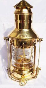 antieke olielamp - scheepslantaarn koper - scheepslamp - olielamp