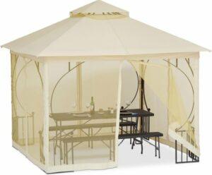 relaxdays partytent 3x3 m - paviljoen met 4 zijwanden - feesttent - tuintent muggennet