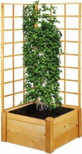 relaxdays plantenbak met klimrek - buiten - houten bloembak trellis - moestuinbak tuin
