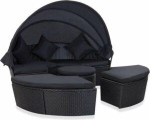 vidaXL Loungebed met luifel poly rattan zwart