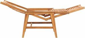 vidaXL Loungestoel met voetensteun massief teakhout VDXL_48963