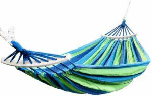 4gardenz Canvas hangmat Blauw met spreidstok- 200x150cm - lengte 320cm