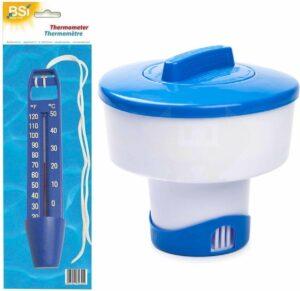 Chloordrijver-chloordispenser groot voor tabletten 200 gram incl waterthermometer