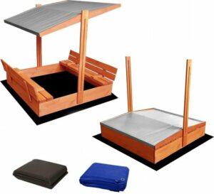 AFSLUITBARE zandbak met dak en banken incl. dekzeil+ gronddoek - GEIMPREGNEERD hout-grijs