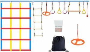 Dakta® Klimbaan - 15 Meter - Kinderspeelgoed - 10 Obstakels - Opvouwbaar - Inclusief Opbergtas - Klimrek - Speeltoestel accessoires