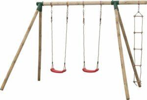 Dubbele houten schommel met touwladder - Charlotte